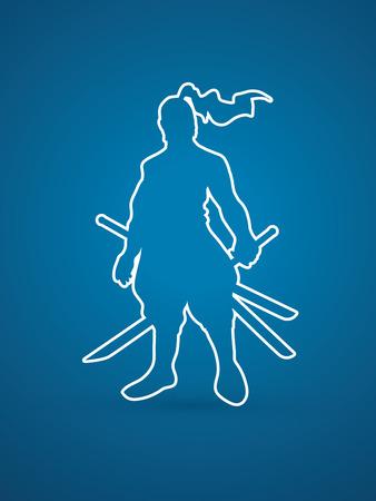 bushido: Samurai standing ready to fight outline graphic vector.
