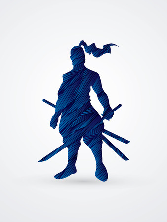 Samurai standing ready to fight designed using blue grunge brush graphic vector.