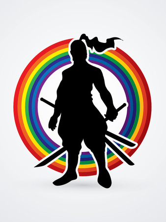 Samurai standing ready to fight designed on line rainbows background graphic vector. Illustration