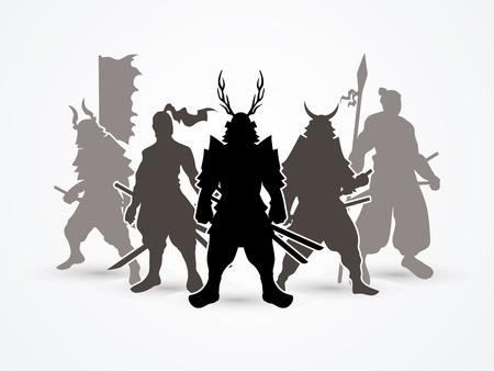 samurai warrior: Samurai Warrior pose graphic vector.