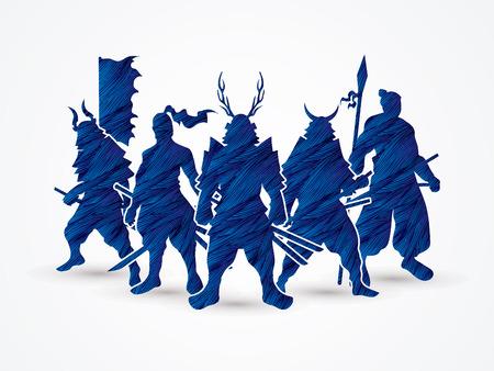 サムライ戦士ポーズ青グランジ ブラシ グラフィック ベクトルを使用して設計されています。
