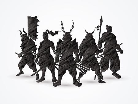 samurai warrior: Samurai Warrior pose designed using black grunge brush graphic vector.