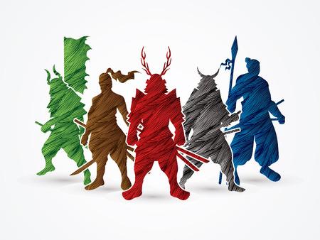 samurai warrior: Samurai Warrior pose designed using colorful grunge brush graphic vector.