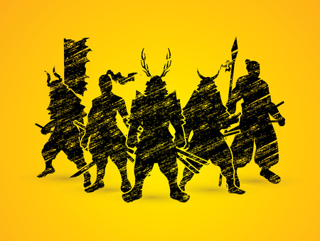 Samurai Warrior pose designed using grunge brush graphic vector. Vektoros illusztráció