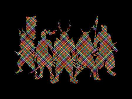 Samurai Warrior pose designed using colorful pixels graphic vector. Illustration