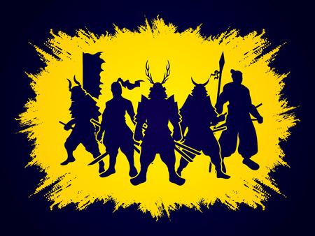 Samurai Warrior pose on grunge frame background graphic vector.