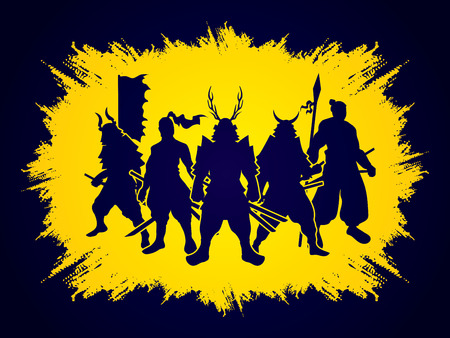 samurai warrior: Samurai Warrior pose on grunge frame background graphic vector. Illustration
