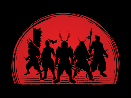 samurai warrior: Samurai Warrior pose on sunset background graphic vector.