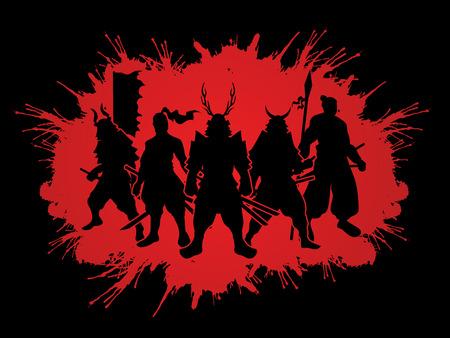 Samurai Warrior pose on splatter blood  background graphic vector.