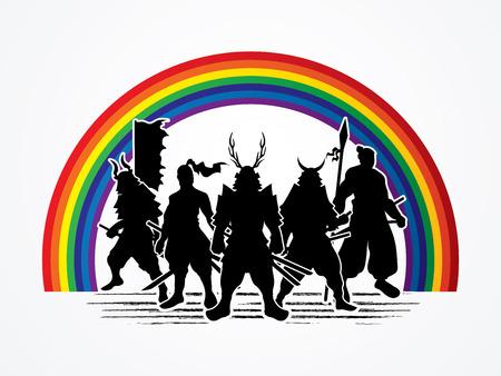 samurai warrior: Samurai Warrior pose on line rainbows background graphic vector. Illustration