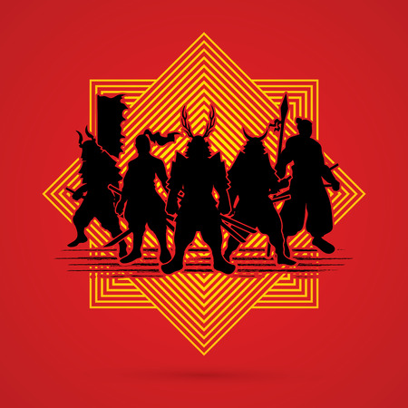 warrior pose: Samurai Warrior pose on line square background graphic vector.