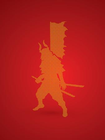 swordsman: Samurai standing ready to fight designed using dots pixels graphic vector.