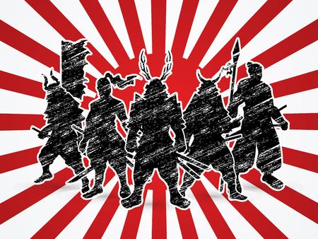 Samurai Warr poseren op zon achtergrond afbeelding vector.