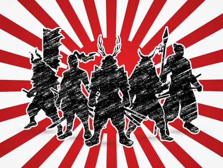 Samurai Warrior pose on sunshine background graphic vector. Illustration