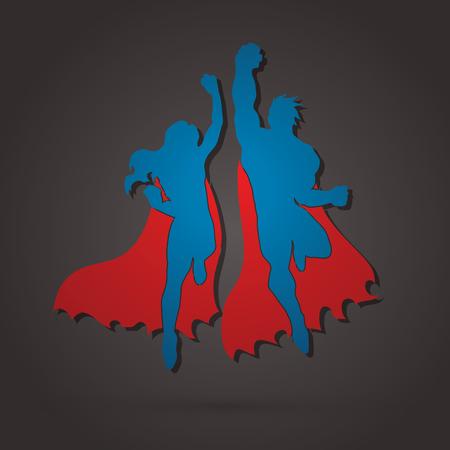 Superhero Man and Woman jumping graphic vector.