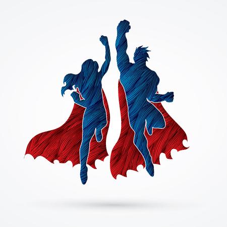 Superhero Man and Woman jumping designed using grunge brush graphic vector.