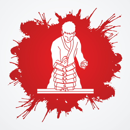 Karate man breaking bricks designed on grunge blood background graphic vector. Illustration