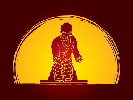 Hombre del karate romper ladrillos diseñadas luz de la luna en el fondo del gráfico de vector.