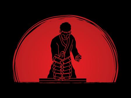 Hombre del karate romper ladrillos diseñados en el amanecer de fondo gráfico vectorial.