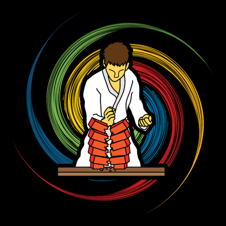 Karate man breaking bricks designed on spin wheel background graphic vector.