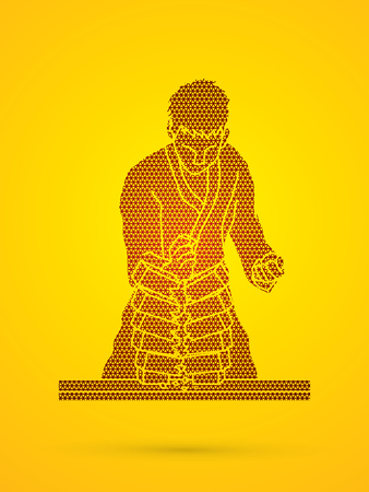 Karate man breaking bricks designed using geometric  pattern graphic vector.