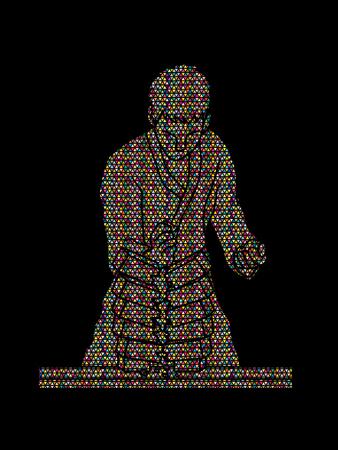 concrete block: Karate man breaking bricks designed using colorful mosaic pattern graphic vector.