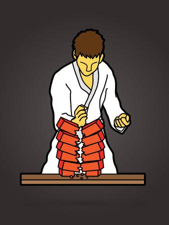 Karate man breaking bricks  graphic vector. Illustration