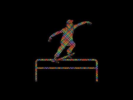 grind: Skateboarder doing a grind on rail designed using colorful pixels graphic vector