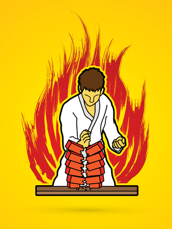 screen printing: Karate man breaking bricks on fire burning background graphic vector. Illustration