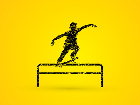 grind: Skateboarder doing a grind on rail designed using grunge brush graphic vector