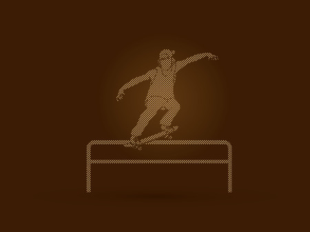 rail: Skateboarder doing a grind on rail designed using dots pixels graphic vector