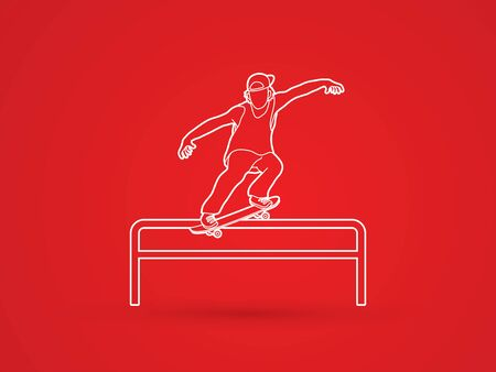 rail: Skateboarder doing a grind on rail outline graphic vector Illustration