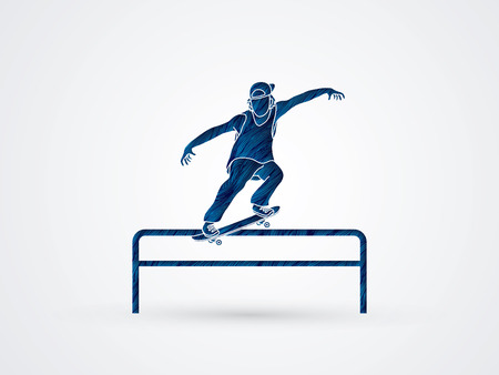 grind: Skateboarder doing a grind on rail designed using blue grunge brush graphic vector