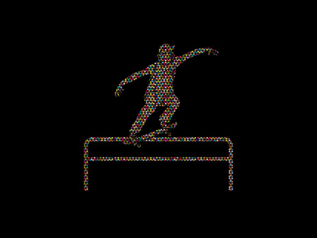 Skateboarder doing a grind on rail designed using colorful mosaic pattern graphic vector