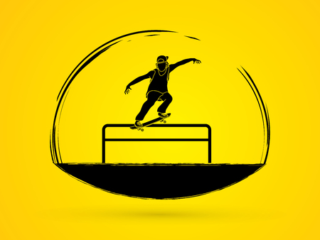 grind: Skateboarder doing a grind on rail graphic vector