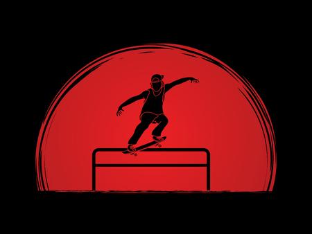 grind: Skateboarder doing a grind on rail designed on sunset background graphic vector Illustration
