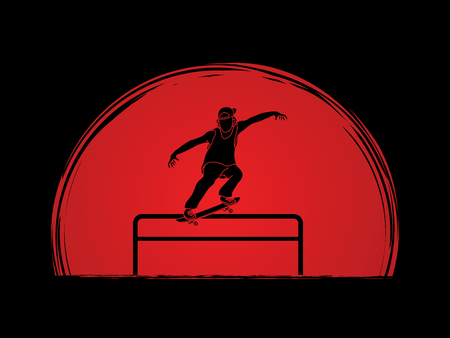 Skateboarder doing a grind on rail designed on sunset background graphic vector Illustration