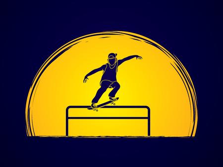grind: Skateboarder doing a grind on rail designed on moonlight background graphic vector
