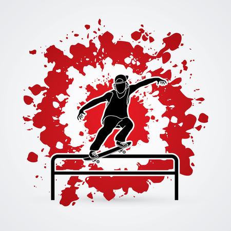 grind: Skateboarder doing a grind on rail designed on splash blood background graphic vector