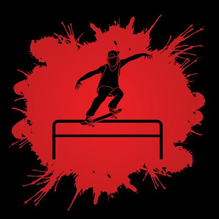 grind: Skateboarder doing a grind on rail designed on splatter blood background graphic vector