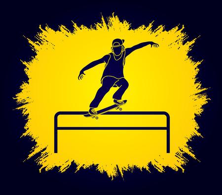 grind: Skateboarder doing a grind on rail designed on grunge frame background graphic vector