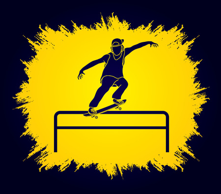 Skateboarder doing a grind on rail designed on grunge frame background graphic vector