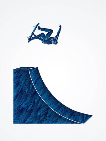 Skateboarder high jumping designed using blue grunge brush graphic vector.