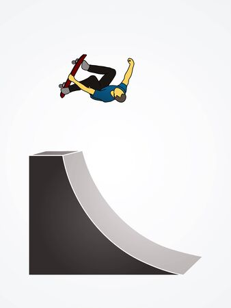 somersault: Skateboarder high jumping graphic vector.