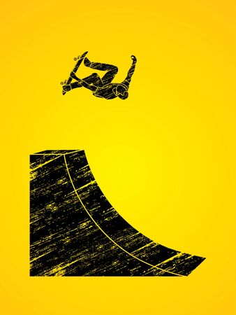 Skateboarder high jumping designed using grunge brush graphic vector. Illustration