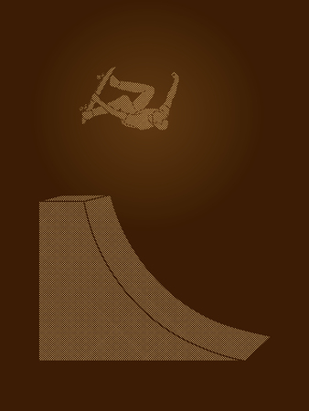 somersault: Skateboarder high jumping designed using dots pixels graphic vector.