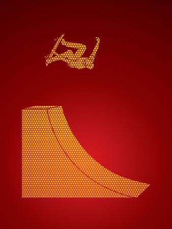 Skateboarder high jumping designed using geometric pattern graphic vector. Illustration