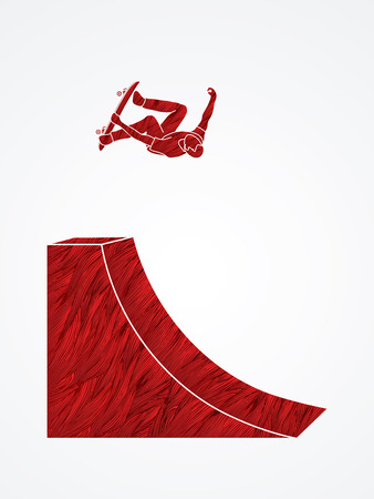 Skateboarder high jumping designed using red grunge brush graphic vector.