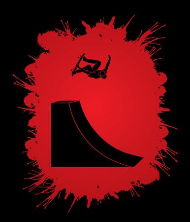 Skateboarder high jumping designed on splatter blood background graphic vector.