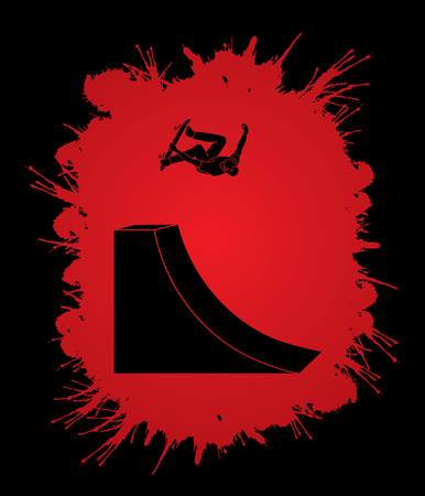 Skateboarder high jumping designed on splatter blood background graphic vector.